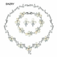 SINZRY Elegant Bridal Jewelry Set Natural Freshwater Pearl Flower Choker Necklace Earring Bracelet Set Wedding Jewelry