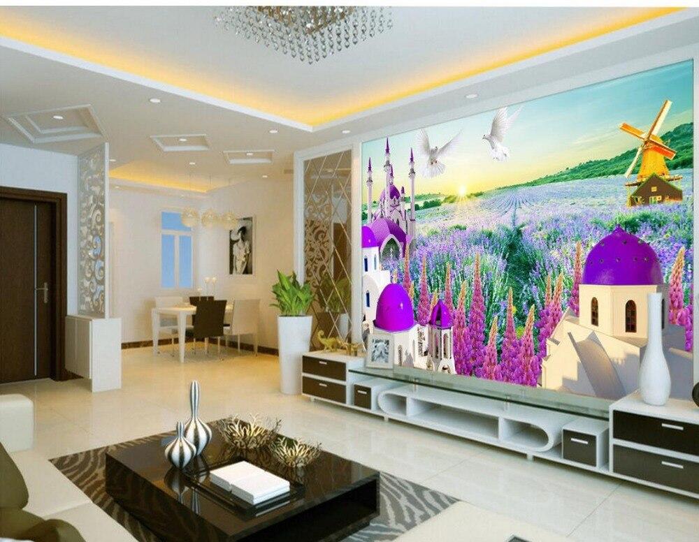 купить Custom photo wallpaper large 3D Stereo romantic Provence lavender Landscape wallpaper murals Home Decoration по цене 2115.93 рублей