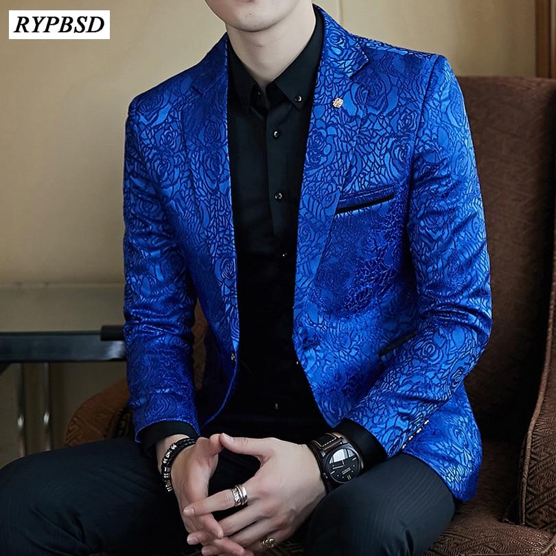 Floral Blazer Men Print Paisley Pattern Wedding Stage Suit Jacket Royal Blue Velvet Blazer Slim Fit Plus Size M XXXL 2 Colors