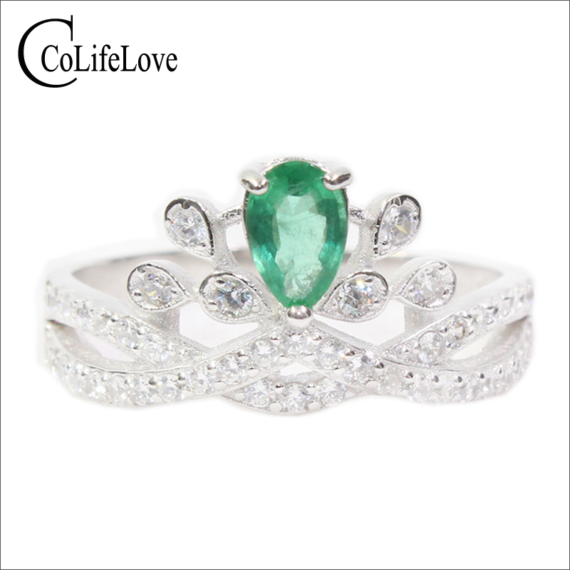 CoLife Jewelry royal crown emerald ring 4mm 6 mm pear cut natural emerald silver ring solid