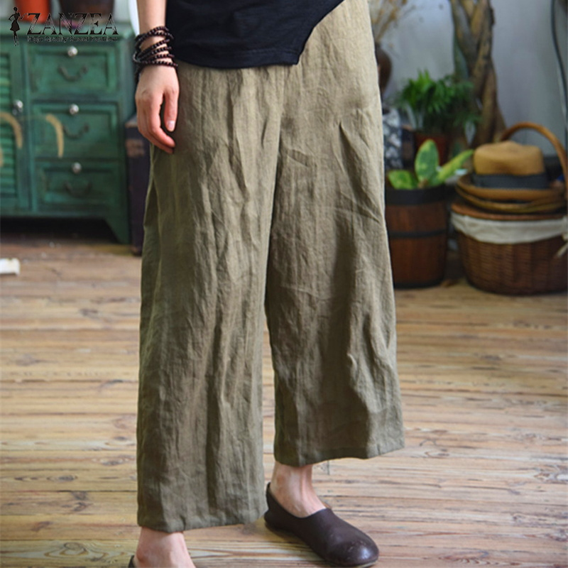 Plus Size 2018 ZANZEA Women Summer   Wide     Leg     Pants   Vintage Elastic Waist Pockets Loose Solid Baggy Long Trousers Work OL Pantalon