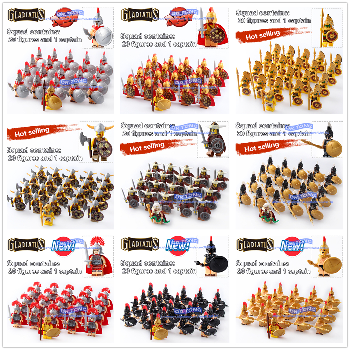 DR.TONG 21PCS/LOT Gladiatus Warriors Rome Fighters Medieval Castle Knights Building Blocks Brick Toys