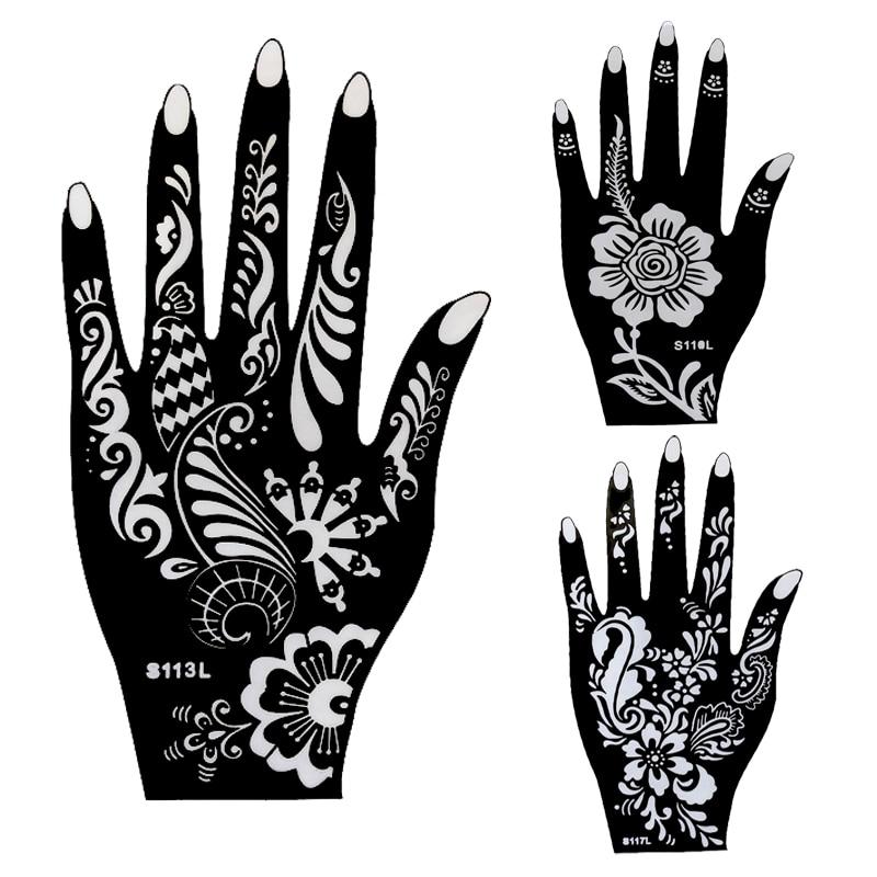 1pcs Henna Hand Tattoo Stencil,Flower Glitter Airbrush Mehndi Henna ...