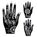 20pcs Large Mehndi Henna Tattoo Stencils 21*12cm, Flower Lace Glitter Airbrush Indian Henna Templates Stencil For Hand Painting