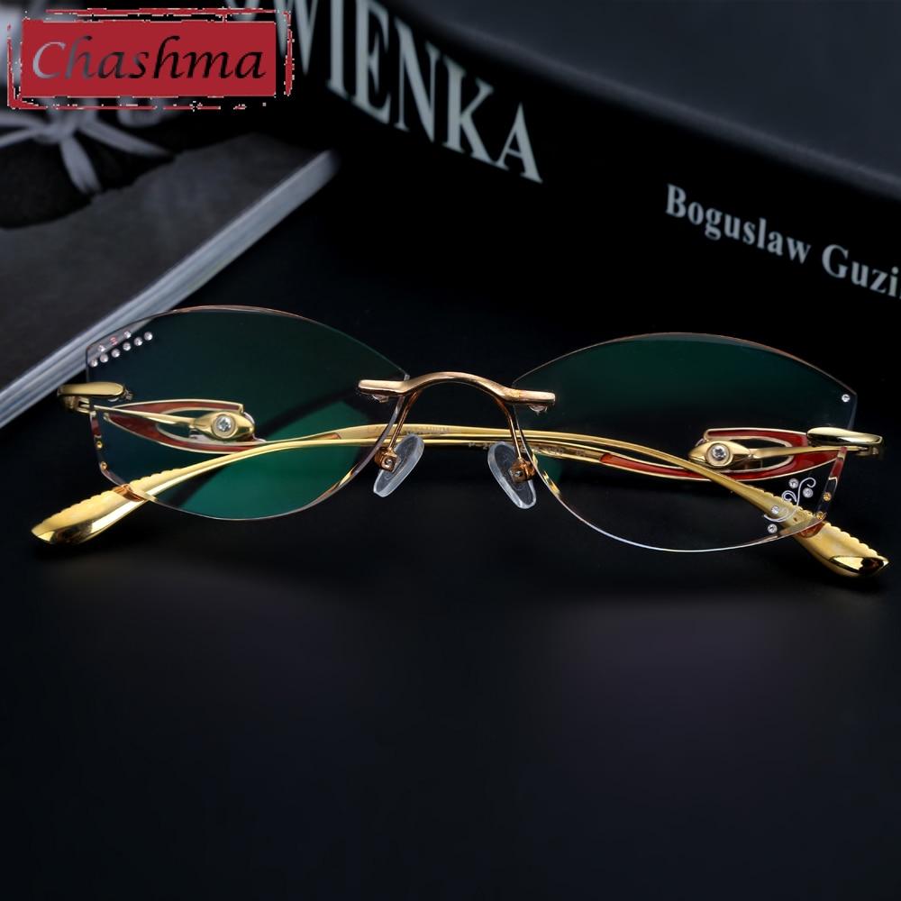 Chashma Brand Top Quality Pure Titanium Glasses Women Rimless Frame Tint Lenses Diamond Rhinestone Glass Engraved