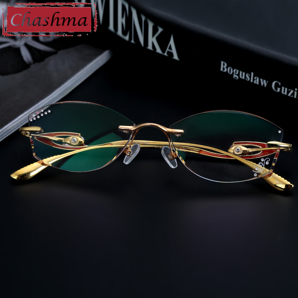 Chashma Brand Top Quality Pure Titanium Glasses Women Rimless Frame Tint Lenses Diamond Rhinestone Glass Engraved with Flower