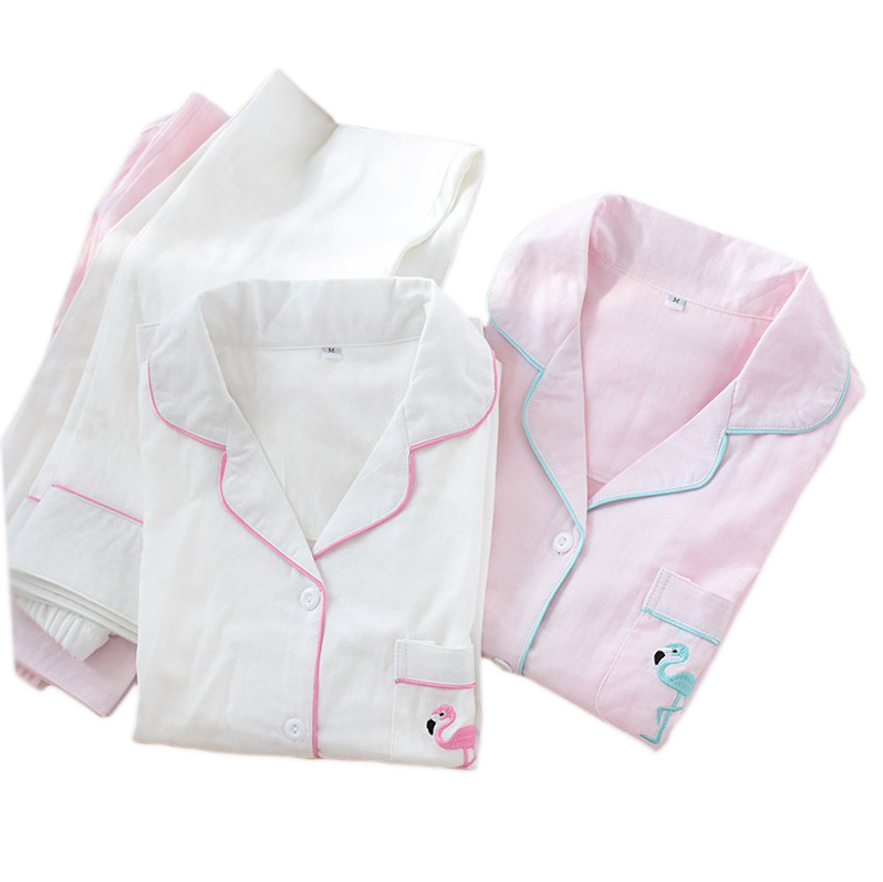 New Fresh flamingos   pajama     sets   women 2019 summer 100% gauze cotton long sleeve casual sleepwear cozy pink pyjamas for women