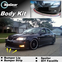 Bumper Lip Deflector Lips For Saab 9 3 93 Aero MY14 Turbo X Front Spoiler Skirt For TopGear Fans Car Tuning / Body Kit / Strip