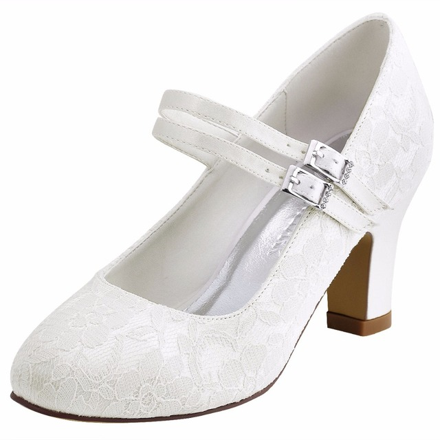 86f7a316e7 Elegantpark HC1701 White Ivory Women Bride Bridesmaids Pumps Closed Toe  2.8