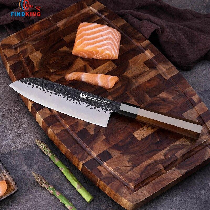 FINDKING 7 cal Chef noże ze stali nierdzewnej platerowane stali japoński profesjonalny ośmioboczna uchwyt Sushi nóż kuchenny nóż santoku w Noże kuchenne od Dom i ogród na  Grupa 1