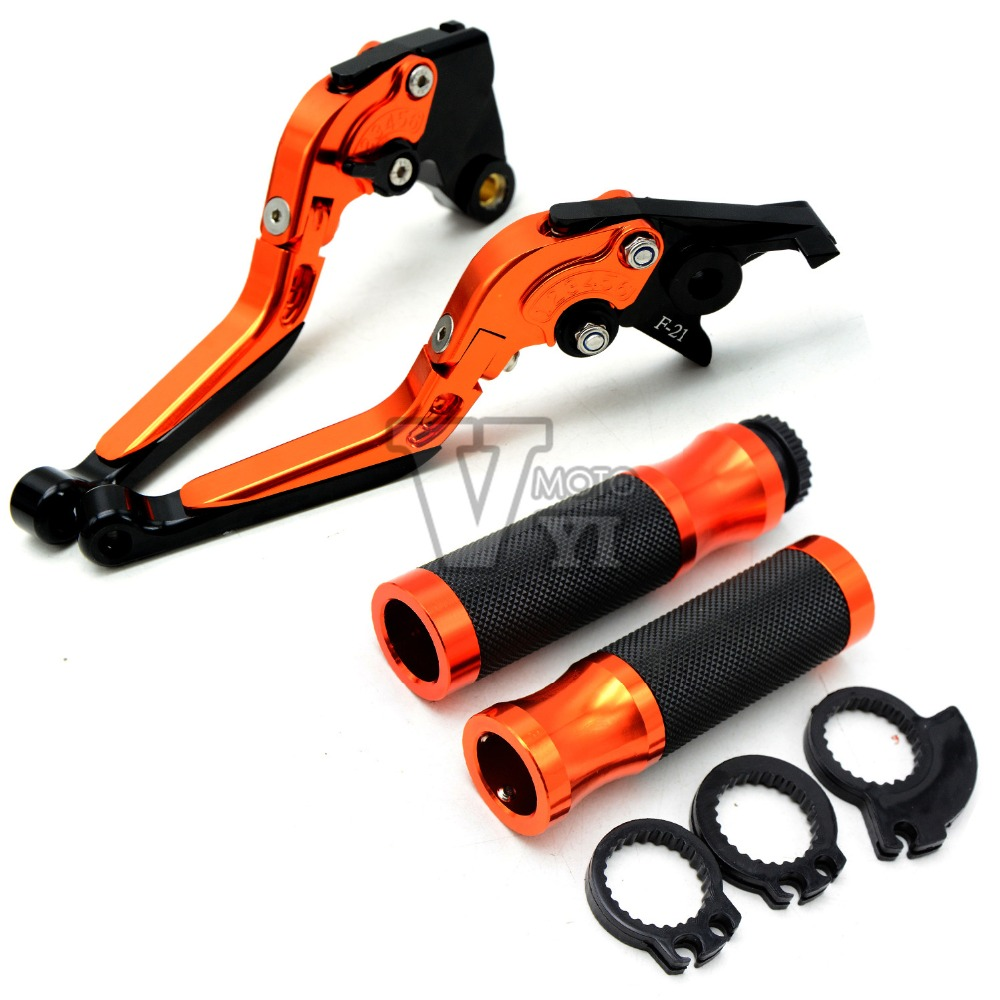 For KTM 990 Super Duke RC8 / R 690 Duke 1290 Super Duke R CNC 7/8'' 22mm Motorcycle Brake Clutch Lever Handlebar Hand Grip Set motorcycle cnc billet aluminum handlebar protection 7 8 22mm brake clutch lever protect guard for ktm 125 200 390 690 990 duke