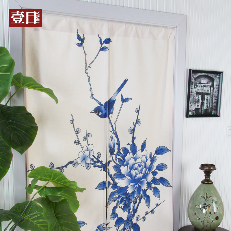 Kitchen Partition Curtains: Blue Flowers Chinese Style Blue And White Cotton Curtain