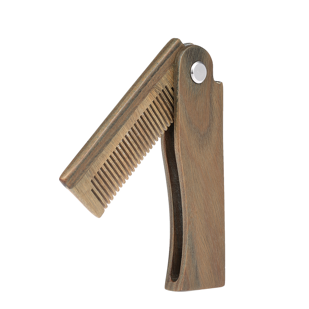 Mini Pocket Wooden Folding Beard Comb Men's Beard Hair Brush Anti-static Mustache Combs Male Facial Massage Hair Styling Tool