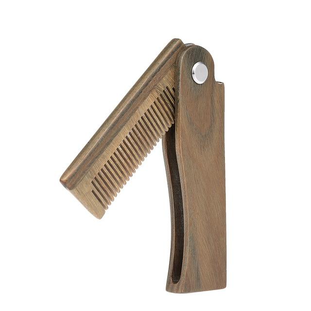 Mini Pocket Wooden Folding Beard Comb Men's Beard Hair Brush Anti-static Mustache Combs Male Facial Massage Hair Styling Tool
