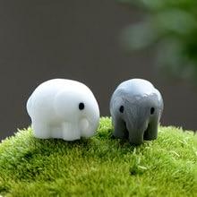 Zocdou 2 peças tailândia elefante animal modelo pequena estátua estatueta micro artesanato ornamento miniaturas diy casa quarto jardim decoração