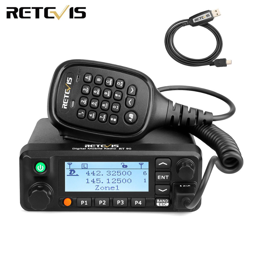 Retevis RT90 DMR Digital Mobile Radio GPS VHF UHF Transceiver Dual Band 50W Mobile Car Two Way Radio Station with Program CableRetevis RT90 DMR Digital Mobile Radio GPS VHF UHF Transceiver Dual Band 50W Mobile Car Two Way Radio Station with Program Cable