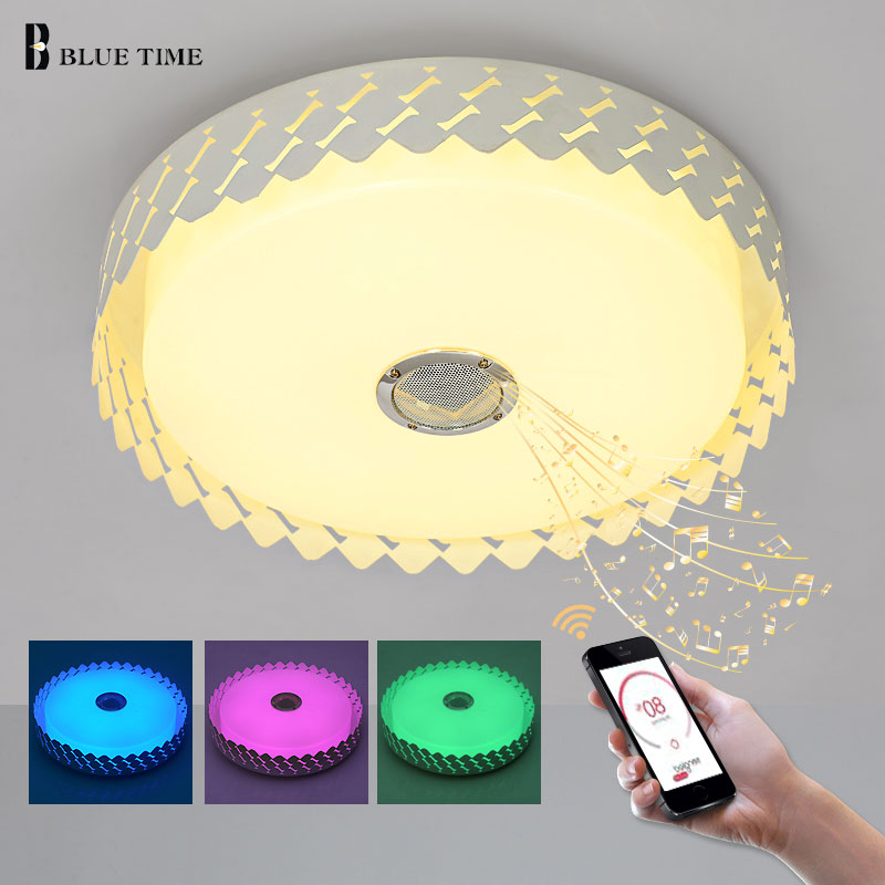 BLUE TIME D47X12CM RGB Music Lamp LED Ceiling Light With Bluetooth Control Color Changing Light Led Ceiling Lamp For Living Room стоимость