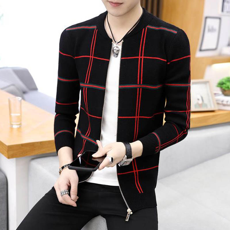 Men Sweater Cardigan Zipper Striped 2020 New Arrival Autumn And Winter Thin Slim Male Knitted Coat Student Korean Style M18