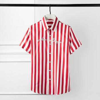 New Summer Mens Shirts Luxury Embroidery Stripe Short Sleeve Mens Dress Shirts Camisa Masculina Plus Size 4xl Slim Shirts Man