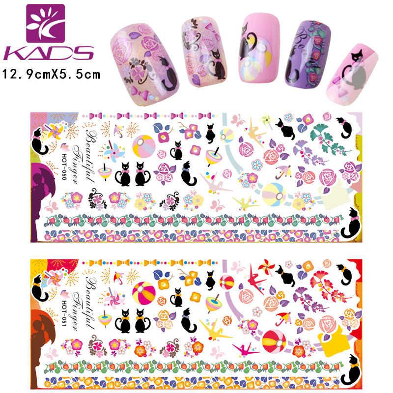 3 feuille/ensemble noir chat Nail Art autocollants eau décalcomanie Nail Art autocollants ongles enveloppes pointe Stickera pour ongles manucure curseurs