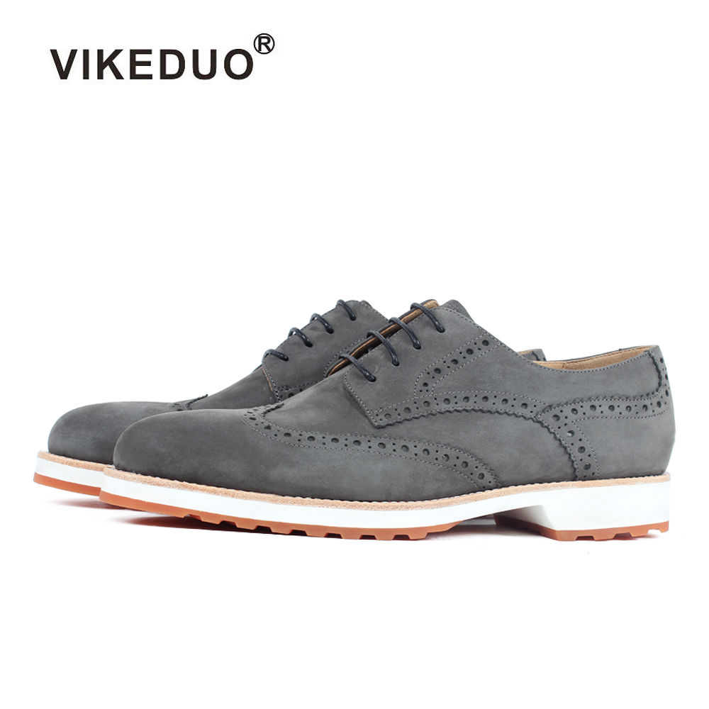 Vikeduo Handmade Italy Designer Suede Wedding Party Luxury Outdoor Fashion Casual Male Dress Genuine Leather Mens
