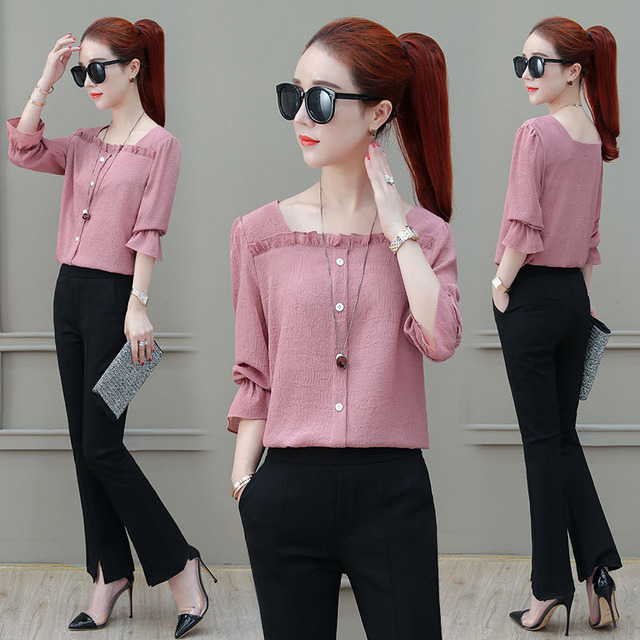 Women Spring Summer Style Chiffon Blouses Shirts Lady Casual Half Sleeve Solid Color Square Collar Blusas Tops DF2303 4