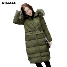 Q-IMAGE 2017New Winter Women Jacket Coat Fur Collar Thicken Warm Long Jacket Female Plus size Outerwear Parkas Women Clothing