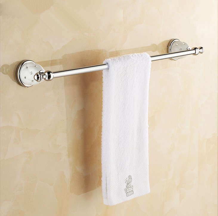 (Free Shipping) Bathroom Accessories,Quality Brass Chrome Finish Single Towel Bar&Towel Rack/ Modern Fashion Bath Products lengthened thickening bathroom towel bar single lever rack free nail