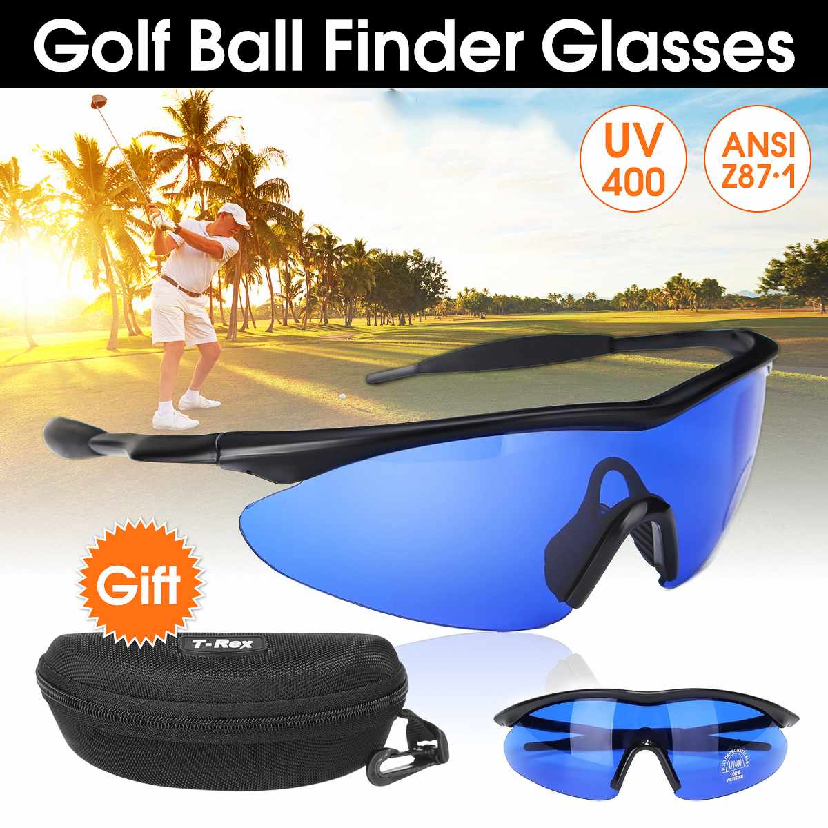 Men Women Retro Golf Ball Finder Glasses Blue Lens Eye Protection Sport Glasses Sunglasses With Box Golf Accessories