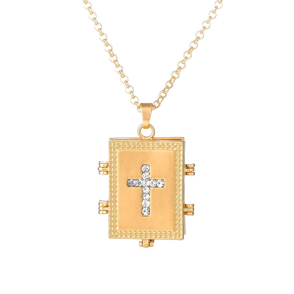 Купить с кэшбэком Unisex Frosted Matte Gold Christ Jesus Rhinestone Cross Locket Necklace Expanding Lover Memory Photo Locket Pendant Necklaces