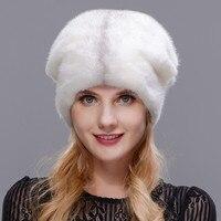 2018 зимние Для женщин меховая шапка зимняя натуральный реального норки Совета открытый Обувь на теплом меху шапка высокое качество модная ш