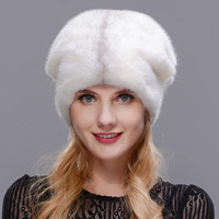 2018 Winter Women's Fur Hat Winter Natural Real Mink Board Outdoor Warm Fur Hat High Quality Fashion Hat Free To Adjust The Size