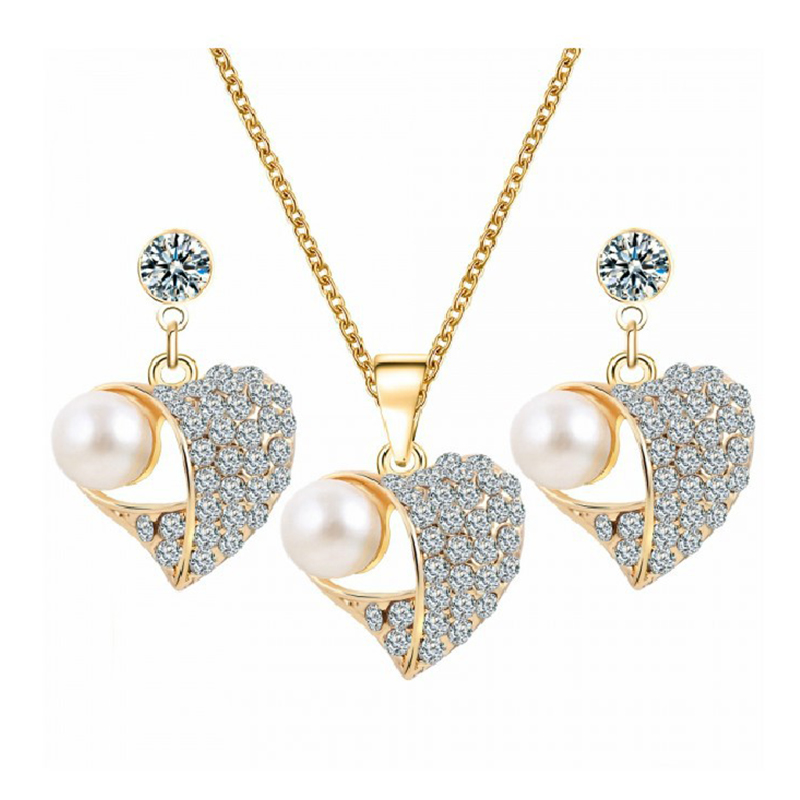 2018 Hot Sale Gold Color Fashion Jewelry Sets Pearl Cubic Zircon Statement Necklace Earrings Wedding Jewelry For Women VP586