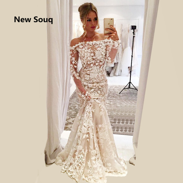 1f6f045432de 2019 Summer Outside Garden Mermaid Wedding Dresses Gorgeous Appliqued  Illusion Off The Shoulder Long Sleeves Bridal