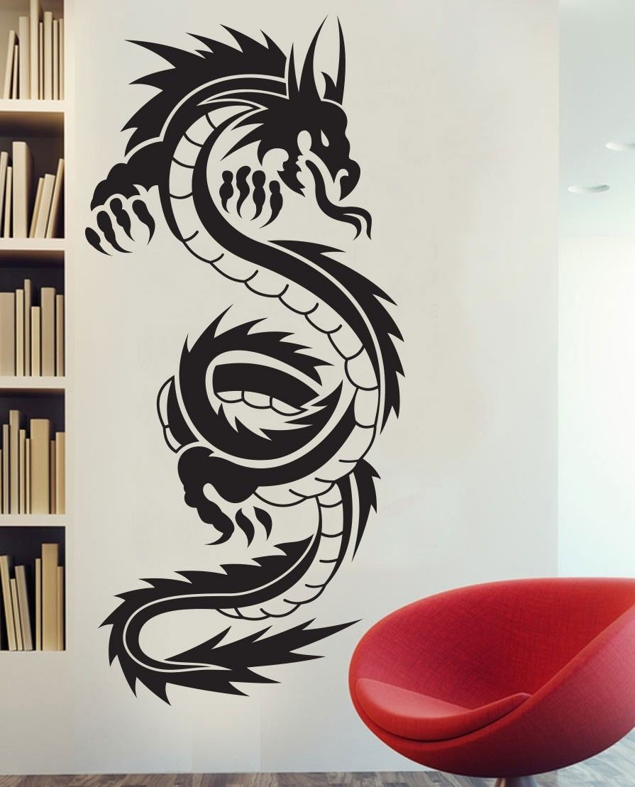 Us 1352 20 Offchinese Dragon Tribal Tattoo Vinyl Wall Art Decals Sticker Removable Wallpaper Home Decor In Wall Stickers From Home Garden On