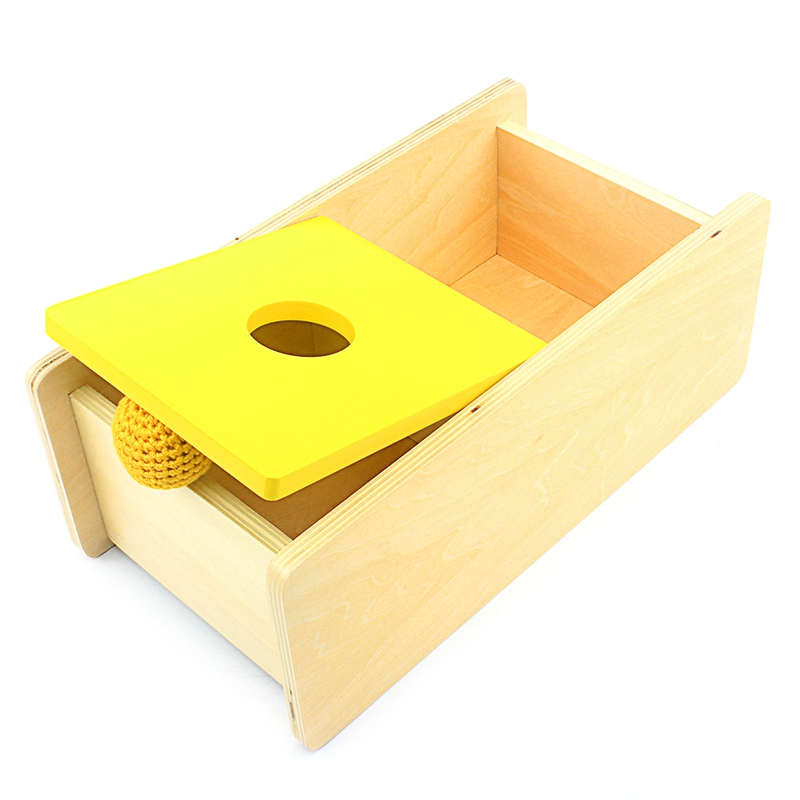 Baby Toy Montessori Toddler Imbucare Box With Flip Lid Knit Ball Wood Learning Educational Preschool Training Brinquedos Juguets