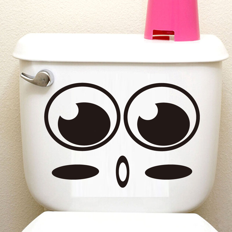 Shy Big Eyes Cartoon Face Vinyl Toilet Stickers Diy adesivos de paredes Home Decor Art Murals Waterproof Poster Decals