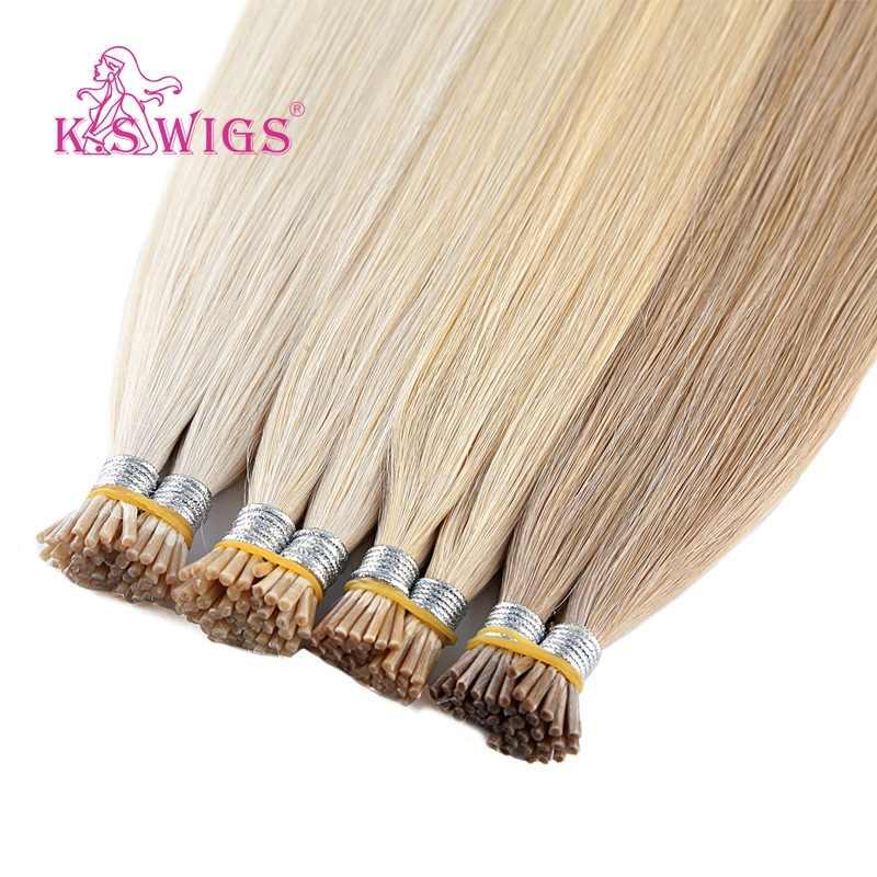 K.S peruki podwójnie rysowane I końcówki doczepy z ludzkich włosów prosto Pre bonded Fusion Remy włosy 20 ''28'' 1 g/s