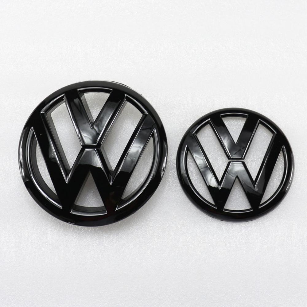Блестящий черный значок 135 мм на переднюю решетку + 110 мм эмблема на заднюю крышку багажника, логотип автомобиля подходит для VW Volkswagen Golf MK6 2009 ...