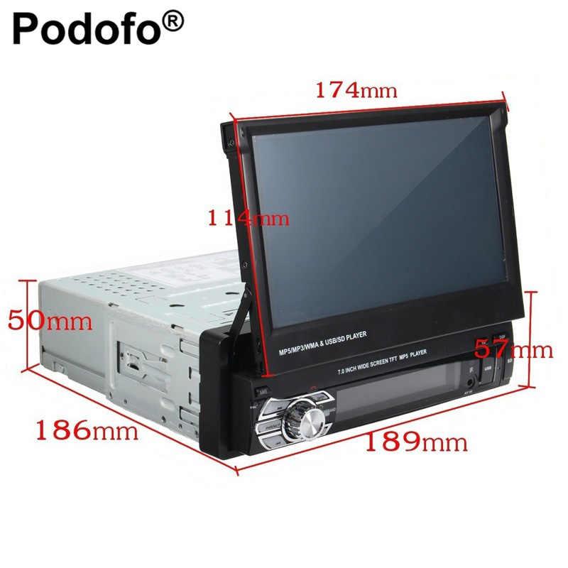 Podofo 1DIN راديو صوت ستيريو للسيارة مزود بتقنية البلوتوث 7 بوصة مشغل MP5 للسيارة قابل للسحب يدعم راديو FM وusb وكاميرا الرؤية الخلفية