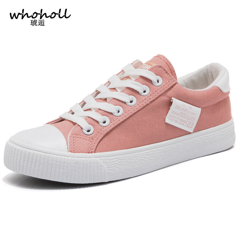 WHOHOLL Women shoes 2018 fashion solid color women canvas shoes lace-up All-match casual white Ladies shoes woman sneakers m genreal 2017 new women white shoes all match summer breathable leather shoes vulcanized casual shoes candy color lace 35 39