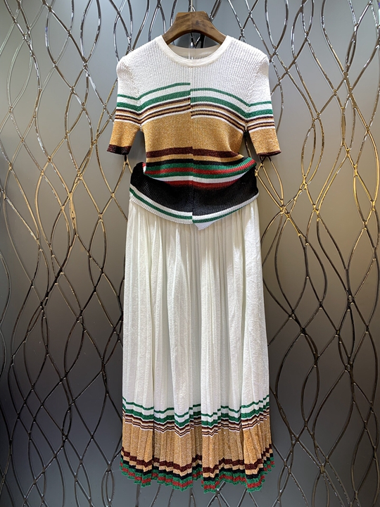 Jupe 2019 Moitié Nouvelles De Au Blanc Courtes Et Manches Veste Rond Femmes Tricoté D'été Costume Tricotée Rayé Col Printemps 0301 4vwnqBTv