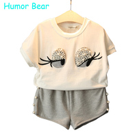 Humor Bear 2016 Girls Clothes Kids Clothes Lovely Eyelashes Pattern Toddler Girl Tops Pants 3 7Y