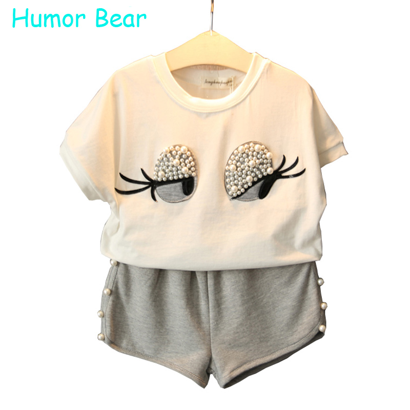 купить Humor Bear Girls Clothing Set Pearl Girls Clothes Set Lovely Long Eyelashes Toddler Girl tops + Pants Girls Suit Kids Clothes дешево