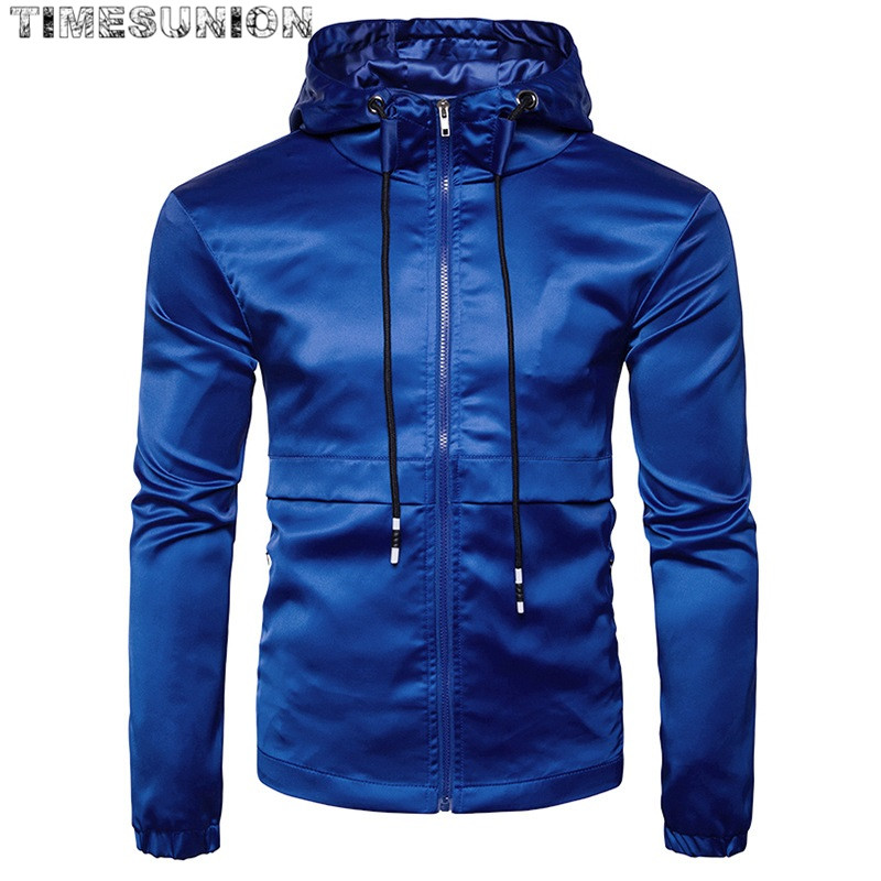 New Spring Autumn Men Casual Jacket Coat Black Blue Red Mens Fashion Hooded Jacket Polyester Brand-Clothing Casaco Masculino