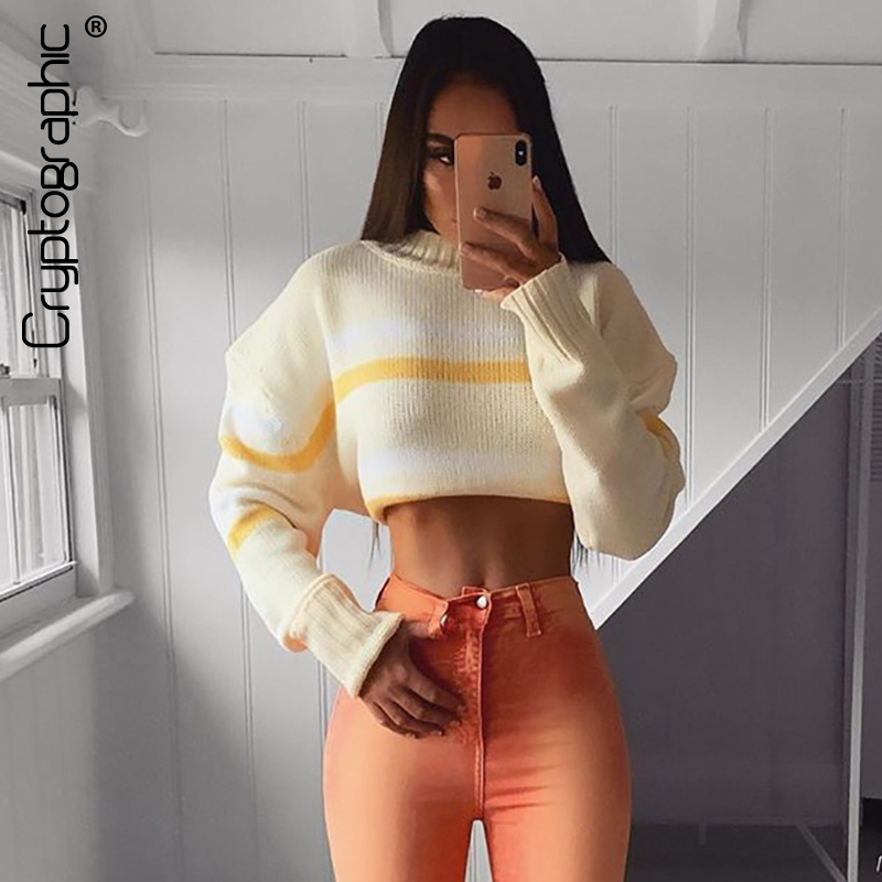 Cryptographic Striped Pullover Sweater Women Autumn Winter Fashion Mock Neck Knitwear Jumpers Slim Sexy Sweaters Cropped Tops