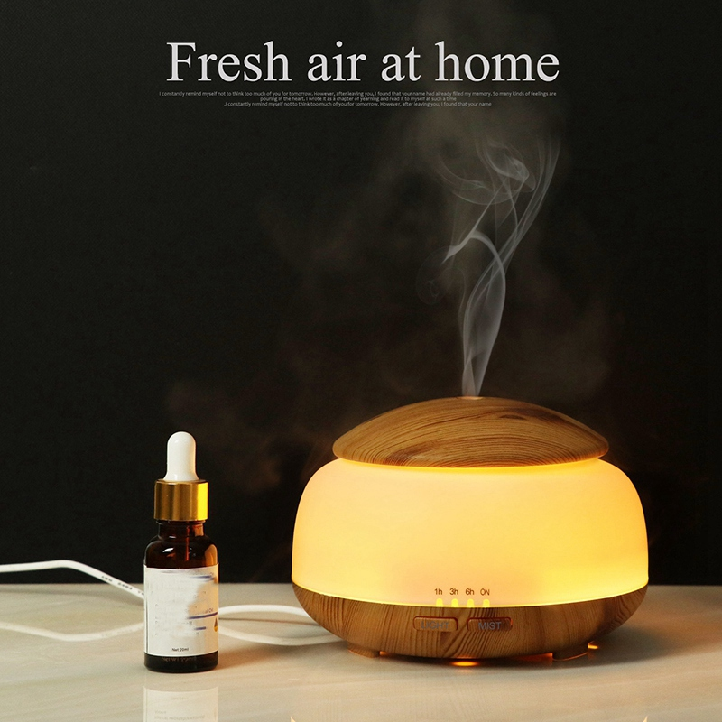 HOT 300Ml Ultrasonic Air Humidifier Aroma Essential Oil Diffuser With Wood Grain 7 Color Changing Led Lights For Bedroom Livin in Humidifiers from Home Appliances