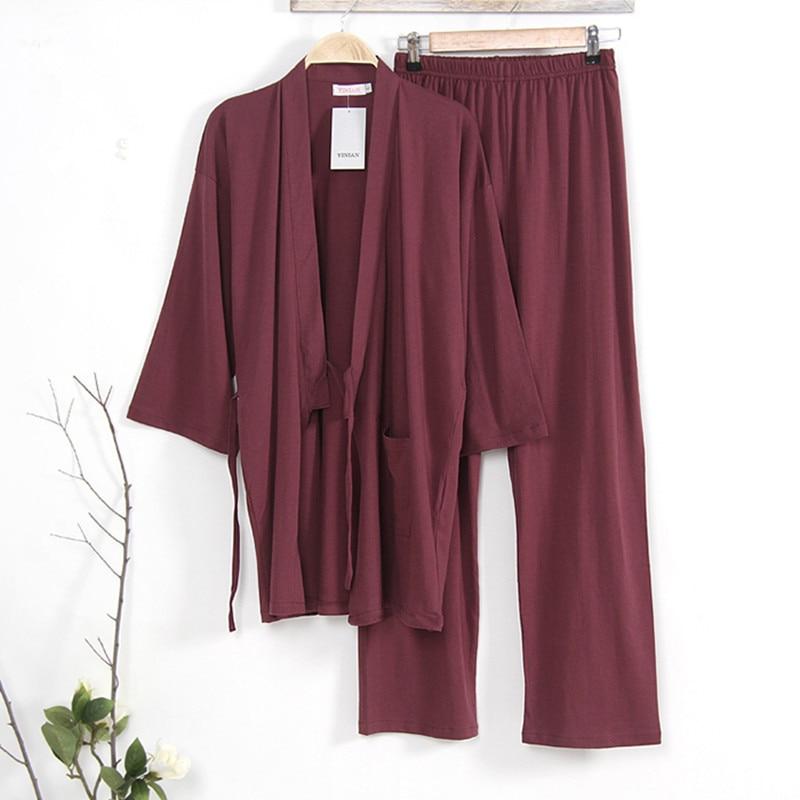 Japanese Style Kimono Pajamas set Men Sleep Spring Autumn Knitted 100 Cotton Lounge clothing Mens Sleep