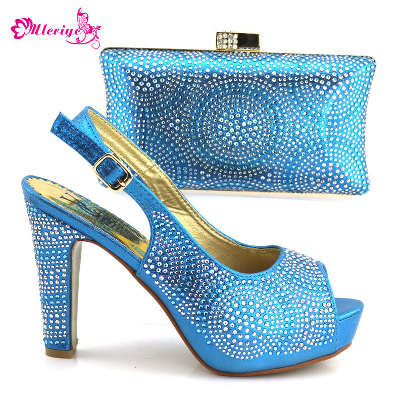 1719-2 s.blueShoes and Bag Sets for Women Women Shoes and Bag Set In Italy New African Shoes and Bag Set for Women Wedding Dress цена 2017