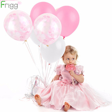 FRIGG  12pcs 12inch Pink Sky Blue Confetti Balloons Cheap Latex Happy Birthday Party Decor Baby Shower Wedding Supplies